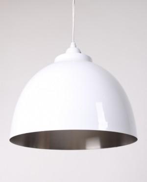 Moderne Pendelleuchte, Metall, Farbe Weiß-Nickel, Ø 30 cm
