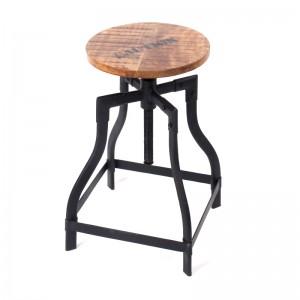 Barhocker aus Massivholz im Industriedesign, verstellbar, Sitzhöhe ca. 48-70 cm
