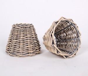 Aufsteckschirm für Kronleuchter, Klemmschirm aus Rattan im Landhausstil 14 cm