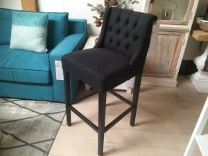 Barstuhl schwarz  gepolstert, Barhocker, Sitzhöhe 75 cm
