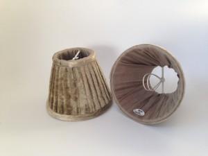 KIemmschirm beige-braun, Steckschirm Velour für Kronleuchter, Form rund Ø 13 cm