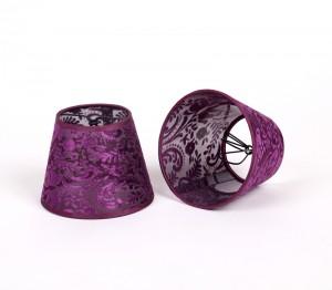KIemmschirm lila, Lampenschirm für Kronleuchter, Form rund Ø 14 cm