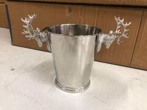 Champagnekühler Hirschkopf Silber, Sektkühler Hirschkopf, Weinkühler verchromt, Ø 27 cm