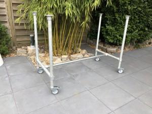 Bartisch-Gestell Rohrgestell Metall, Tischgestell auf Rollen Industriedesign,  Maße 224 x 107 cm