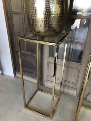 Dekosäule Gold Metall-Glas, Säule Gold Glas-Metall, Maße 40x40 cm
