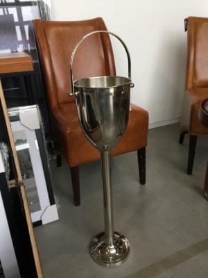 Sektkühler Silber mit Standsäule, Weinkühler verchromt