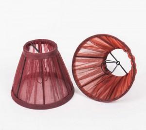 KIemmschirm Organza Rot, Lampenschirm für Kronleuchter, Form rund Ø 14 cm