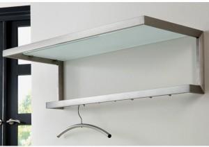 Wandgarderobe mit Ablagefläche und Bügelstange, moderne Garderobe mit 7 Haken, Edelstahl, Höhe 25 cm
