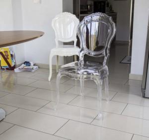 Stuhl Barock aus Polycarbonat, transparent