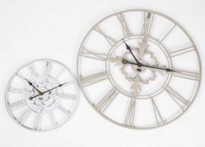 Wanduhr Metall im Landhausstil, Uhr weiß-beige vintage, Ø 40 cm