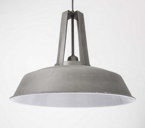 Hängeleuchte grau im Industriedesign, Pendelleuchte grau, Durchmesser 42 cm