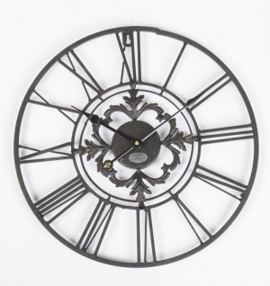 Wanduhr Metall im Landhausstil, Uhr schwarz vintage, Ø 70 cm