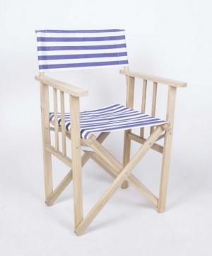 Klappstuhl, Regiestuhl aus Massivholz und gestreiften Stoff, Gartenstuhl Farbe blau-weiß