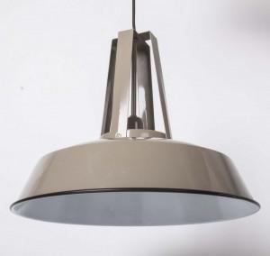 Hängelampe grau-taupe im Industriedesign, Pendelleuchte grau Landhausstil, Durchmesser 42 cm