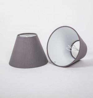 KIemmschirm grau, Aufsteckschirm rund, Lampenschirm für Kronleuchter,  Ø 16 cm