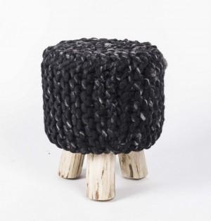 Hocker gepolstert mit Webstoff bezogen, Ø 33 cm