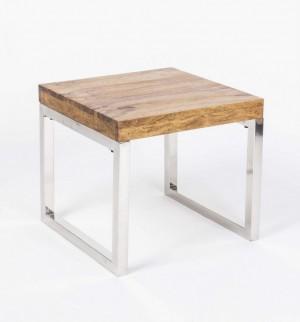 Couchtisch aus Massivholz, verchromte Tischbeine, Beistelltisch, Maße 44x44 cm