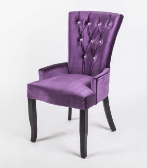 Stuhl Landhaus Style Samtstoff lila mit Strasssteinen