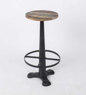 Hocker aus Metall und Massivholz im Industriedesign, Sitzhöhe 74 cm