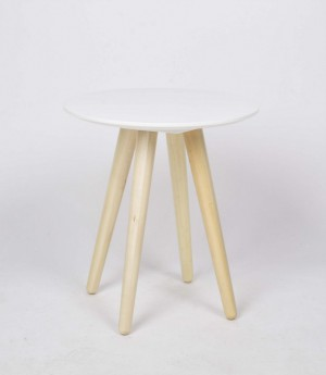 Beistelltisch weiß Holz, Durchmesser 45 cm
