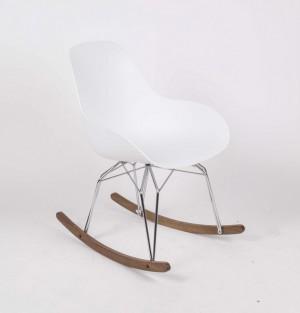 Design Schaukelstuhl Weiß, Sessel Mit Armlehne, Verchromtes Gestell,  Sitzhöhe 41 Cm