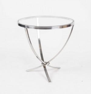 Verchromter Beistelltisch mit eine Glasplatte, 60 cm Hoch