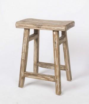 Hocker / Beistelltisch aus Holz, massiv, Farbe grau-braun, Sitzhöhe 54 cm
