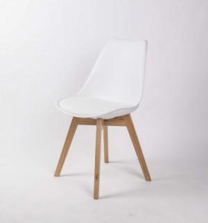 Stuhl gepolstert mit einem Gestell aus Massivholz, Stuhl Farbe Weiß