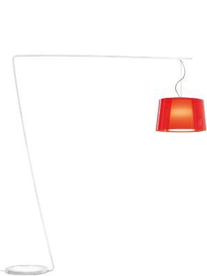 Design-Stehleuchte mit Doppelschirm, Lampenschirm Ø 52 cm