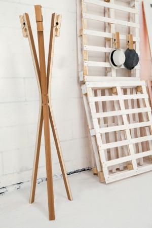 Garderobenständer Wäscheklammer modern Holz