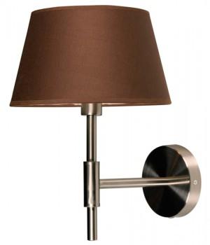 Wandlampe Nickel-satiniert mit eine Lampenschirm Farbe Braun, Wandlampe mit Lampenschirm
