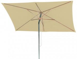 Rechteckiger Sonnenschirm, Material: Polyester/Aluminium, Streben aus Hartholz, Farbe Natur