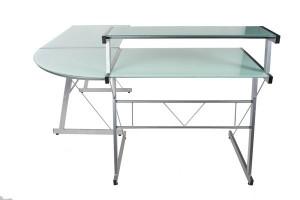 Design Bürotisch mit einer weiß Glasplatte