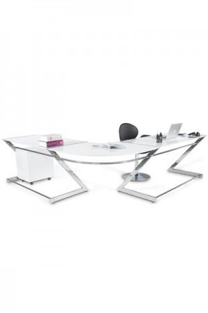 Design Bürotisch in weiß modern verchromter Stahlrahmen