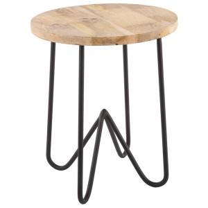 Hocker schwarz Industriedesign Metall-Holz, Hocker Metall schwarz, Höhe 46 cm