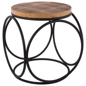 Beistelltisch Industriedesign Metall-Holz, Hocker Metall schwarz, Höhe 41 cm