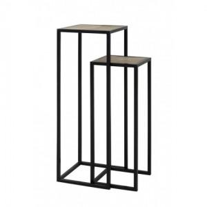 Säule schwarz Metall 2er Set, Dekosäule schwarz Metall, Beistelltisch Metall schwarz, Höhe 100 cm