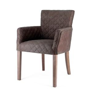 Stuhl mit Armlehne gepolstert im Landhausstil, Stuhl braun Landhaus