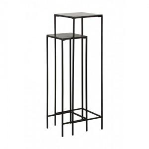 Säule schwarz Metall 2er Set, Dekosäule Metall schwarz, Beistelltisch Metall, Höhe 120 cm