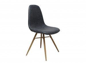 Design Stuhl in vintage blau Industriestil Beine Buchenlook