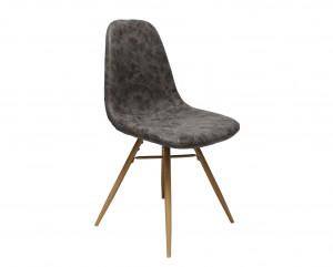 Design Stuhl in taupe Industriestil Beine Buchenlook