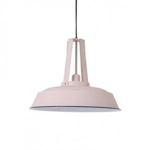 Hängelampe rosa-weiß im Industriedesign, Pendelleuchte rosa-vintage Landhausstil, Durchmesser 42 cm