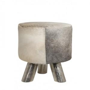 Hocker grau mit Kuhfell  bezogen, Sitzhocker verchromtes Gestell, Durchmesser 36 cm
