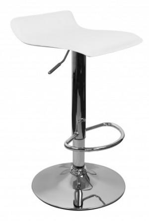 Barhocker Weiß  Edelstahl, Barstuhl Farbe Silbern-Weiß höhenverstellbar