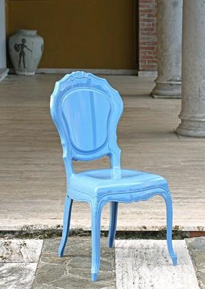 Stuhl blau Barock aus Polycarbonat, Stuhl Barock