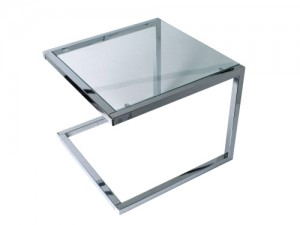 Beistelltisch Metall Silber, Glas transparent