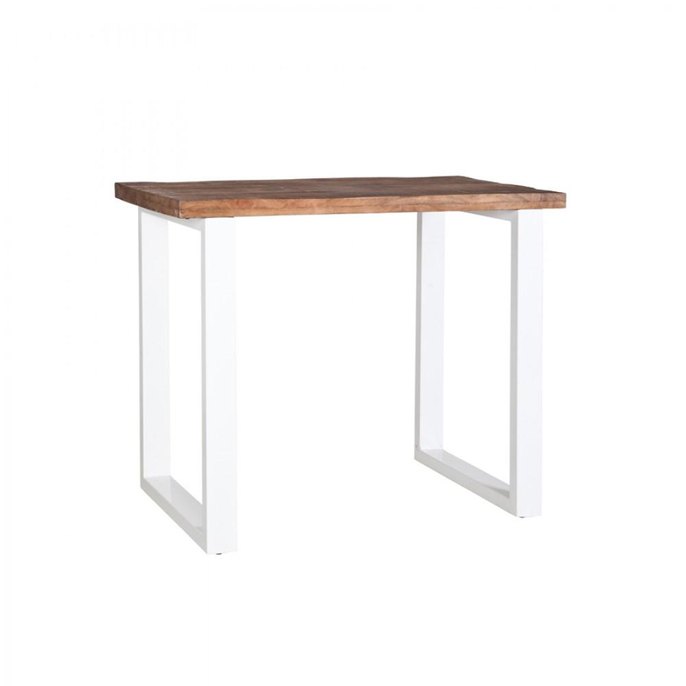 bartisch wei naturholz tresentisch industrie wei tisch metall wei h he 90 cm. Black Bedroom Furniture Sets. Home Design Ideas
