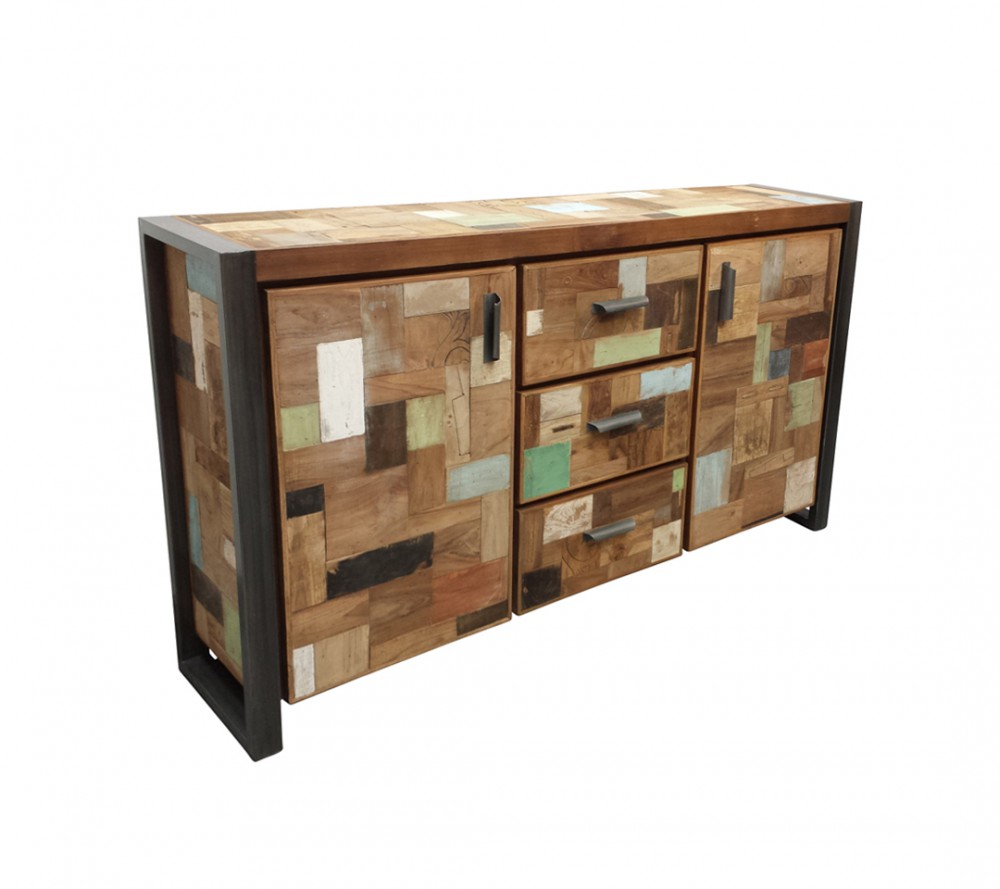 sideboard industriedesign anrichte metall holz l nge 180 cm. Black Bedroom Furniture Sets. Home Design Ideas