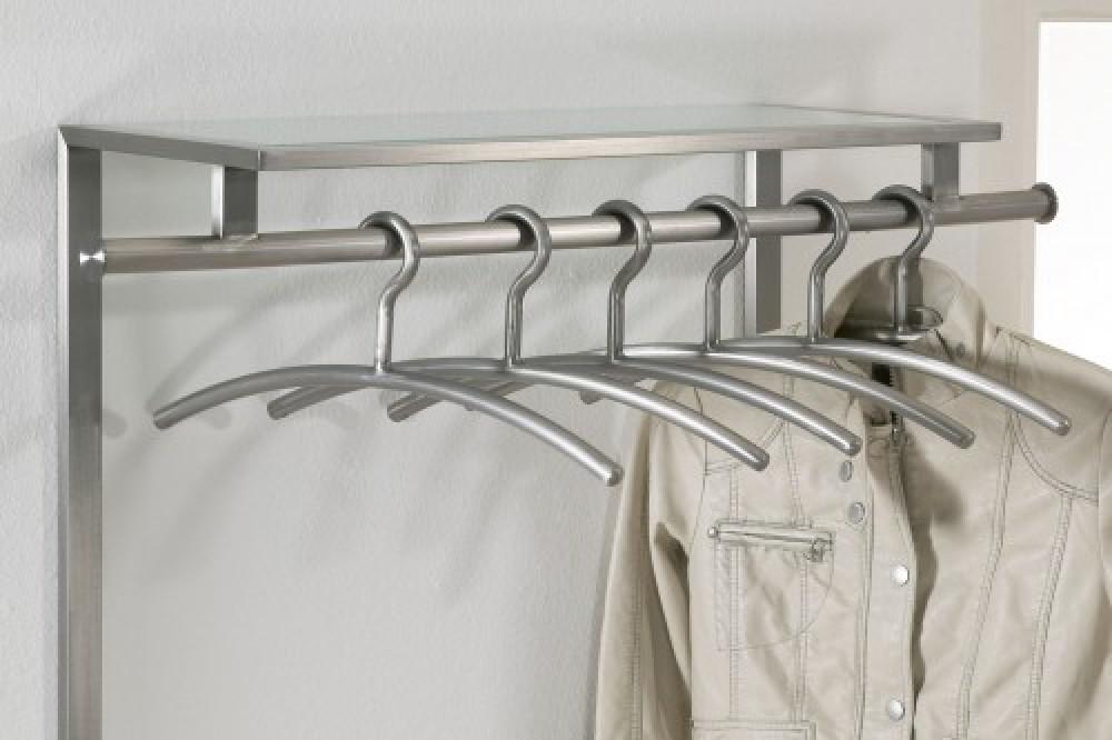 Wandgarderobe aus edelstahl und ablage aus glas garderobe for Garderobenpaneel edelstahl