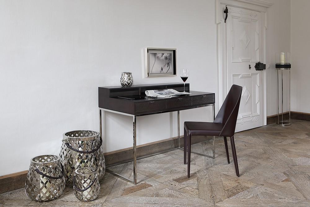 sekret r eiche braun schreibtisch braun verchromt tisch modern braun. Black Bedroom Furniture Sets. Home Design Ideas